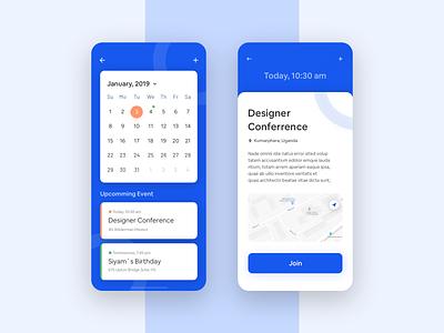 Schedule & Event App app design interface management profile typography application blue calendar schedule event agency calendar event app app design ux ui