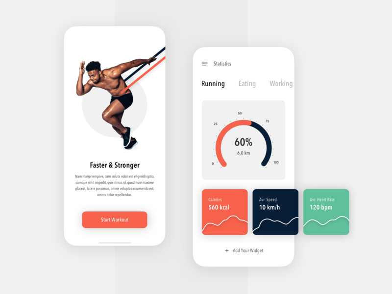 Fitness App interface design mobile app ios walking percentage workout yoga stronger working eating runner running man fitness tracker fitness fitness app creative app design ux ui