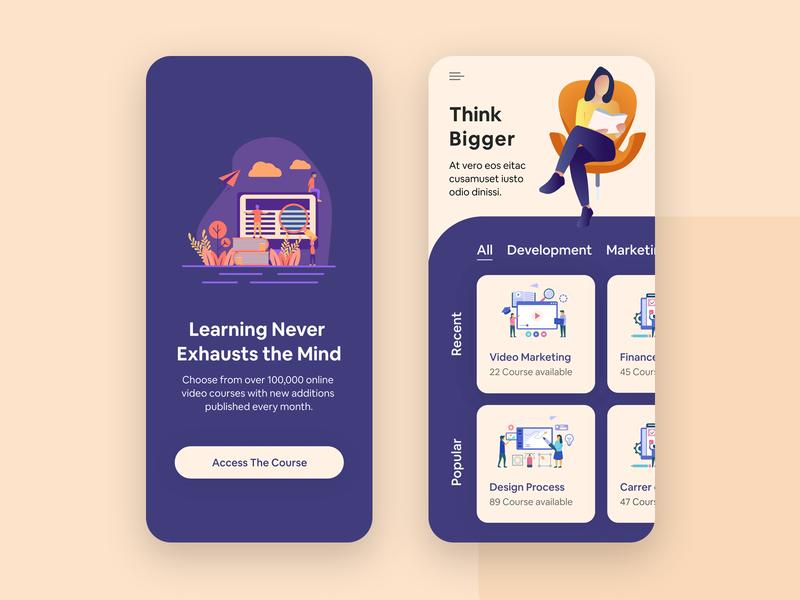 Course App UI Design creative design trending colorful design study student app ui app flat design access the course thinker course app learning app ux application design ios app app design ui