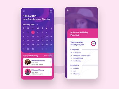 Event Planning App mobile app design interface design birthday calendar schedule ux design ui design colorfull task manager calender ios app app design event planning event app events event