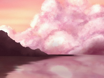 Pink mood beauty cloud mountain pink color pink nature art nature procreateart digitalart procreate illustration