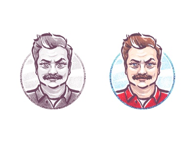 Ron Swanson avatar bacon meat parks and rec ron swanson avatar infographic illustration draw sketch character