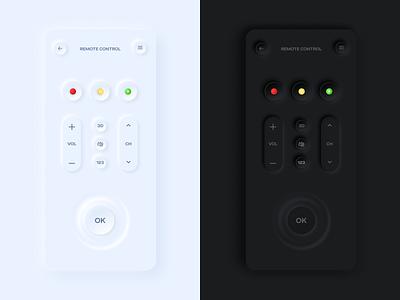 TV Remote Control UI app ux ui dark soft skeuomorphism skeuomorphic neumorphism neumorphic