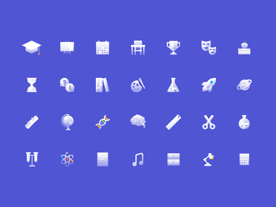 Education Soft Icon Set clean ux ui branding design icon set icons icon