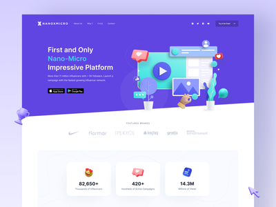 Influencer Landing Page illustration 3d design landing page clean ui