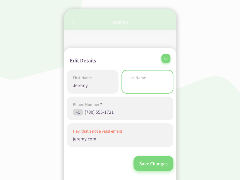 Form Elements field input form contact app mobile ui