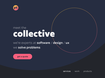 Hero Design for PT Studio svg parallax vuejs sketch typography circle gradient branding landing page hero