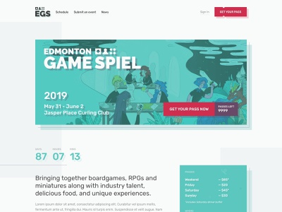 Edmonton Game Spiel Landing Page django sketch app landing page hero typography illustration game branding design