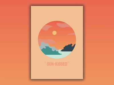 Sun Kissed illustration gradient circle reflection island sky minimalism sea sunset sun poster design poster poster art vector design