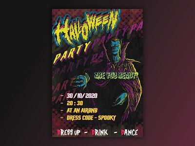 HALLOWEEN Poster party vampire scary halloween flyer halloween design halloween party poster font photoshop dracula halloween graphicdesign graphic design poster design poster art character design procreate ipad illustration design