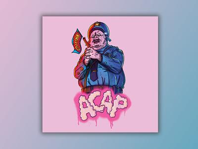 A.C.A.P. badge gun pig piggy police police brutality tshirt art tshirt design poster design poster art character character design procreate ipad illustration design