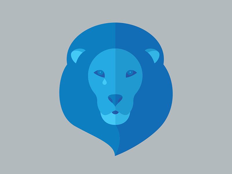 Lion tears animal cat illustration detroit flat blue icon lion detroit lions