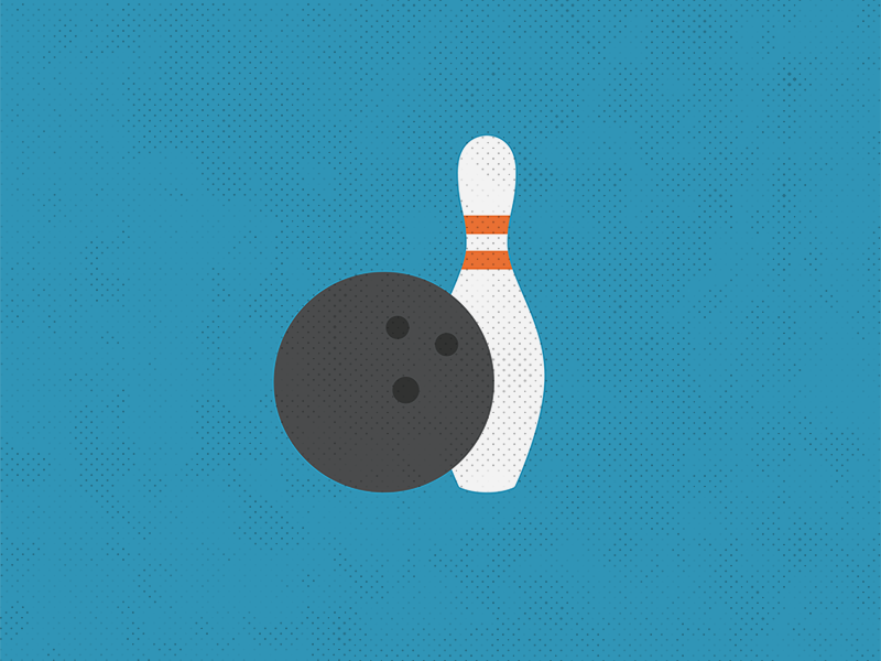 Bowling icon bowling pin bowling ball halftone illustration bowling