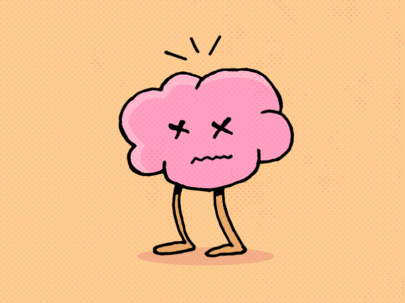 Can't brain zombie dead sad character orange pink icon illustration brain