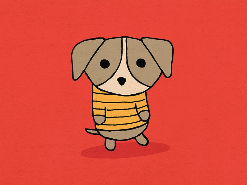 Dog about town drawing character kawaii cute cartoon puppy dog sketch