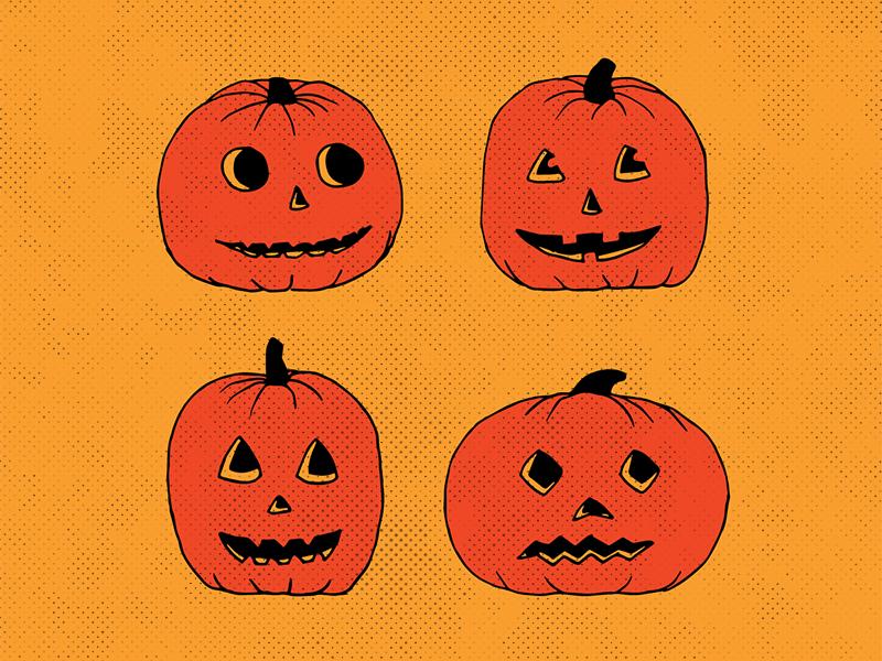 Pumpkins sketch illustration october beistle retro vintage yellow orange cute spooky pumpkins halloween