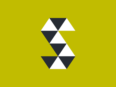 S is for Scott logo design minimal yellow triangles s geometric logo