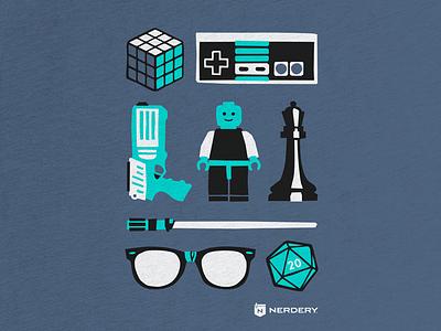 Nerd culture t-shirt video games rubix cube tshirt screenprint icons chess lego nerdy nerdery