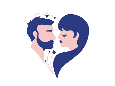 Arielle & Scott couple woman man silhouette portrait illustration pink blue symbol invitations logo wedding