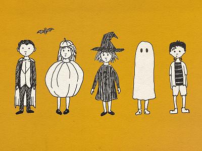 Halloween costumes ghost witch pumpkin illustration sketch vampire costumes children costume kids halloween