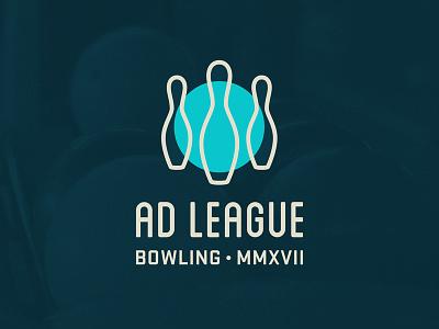 Ad League Bowling logo submission retro blue teal bowling league advertising logo bowling