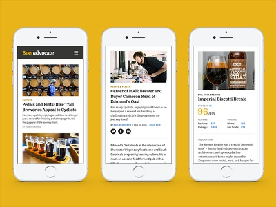 Beer Advocate mobile screens web iphone design mobile website magazine beer