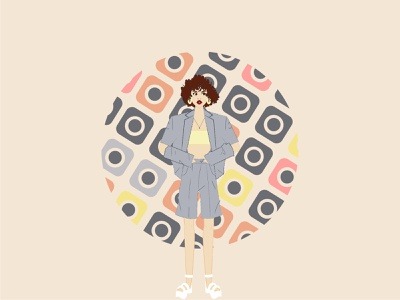 curly hair character characterdesign style earings shoes color vectorart vector flat illustration flat design flat girl curly hair curly
