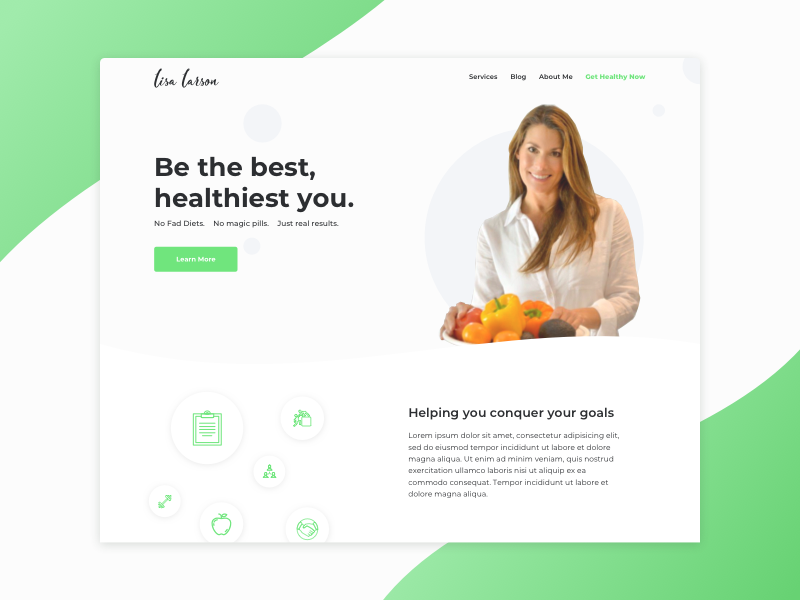 Homepage for Nutritionist and Health Coach fitness health landing page nutritionist health coach green web design ui ux
