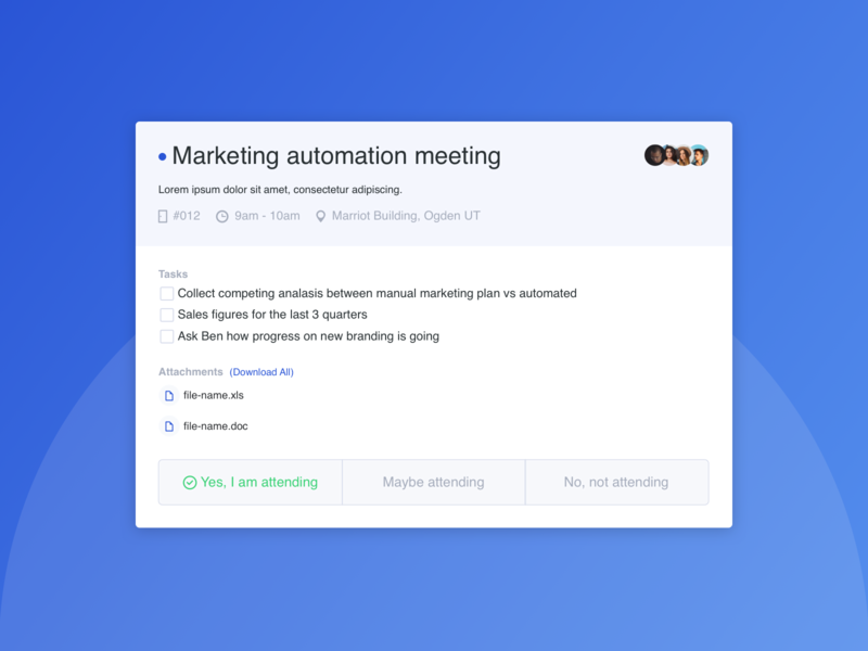 Join Meeting Invite blue ux design web design ui design ux ui sketch