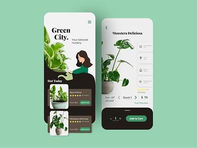 Plant Shop UI Concept illustration fresh colors green nursery fresh plant elegant clean app design ui design modern