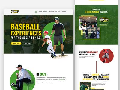 Website Landing Page - Legends Baseball modern clean website children website fun website sport design baseball design baseball website sport website landing page web design figma