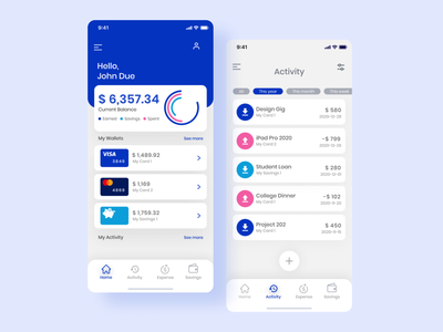 Money Tracking App clean ui finance finance app money app app designer fresh colors ui inspiration ui design modern app design