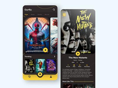 Movie Film App UI Design yellow dark ui ticket app film app movie app film movie app inspiration ui inspiration app design ui design modern