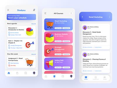 Online Class Learning App Design clean ui study class online class learning 3d 3d app clean inspiration app design ui inspiration ui design modern