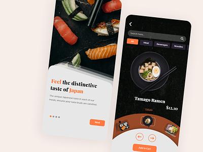 Japanese Restaurant Food App Design dark ui food app japanese food ui food clean ui inspiration clean app design ui inspiration ui design modern