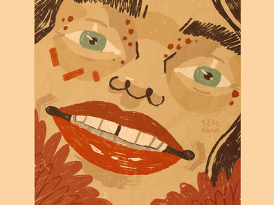 Smiling girl illustration art smile crazy