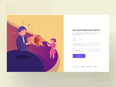login page work vector ui registration loginpage web character flat design dribbble illustration