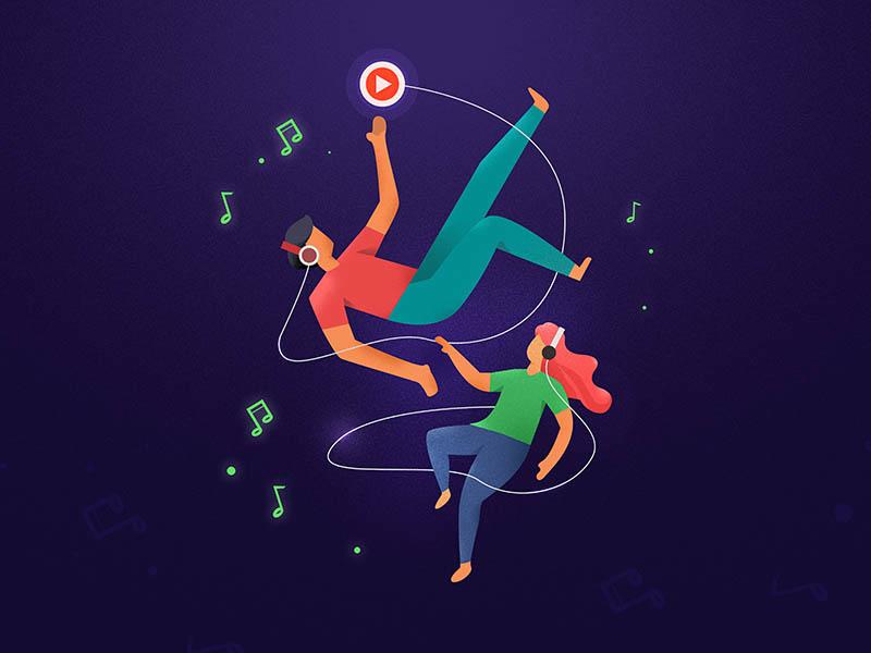 music night vinyl rock n roll record psychedelic pop music cover bitmap art album flat ui vector illustration