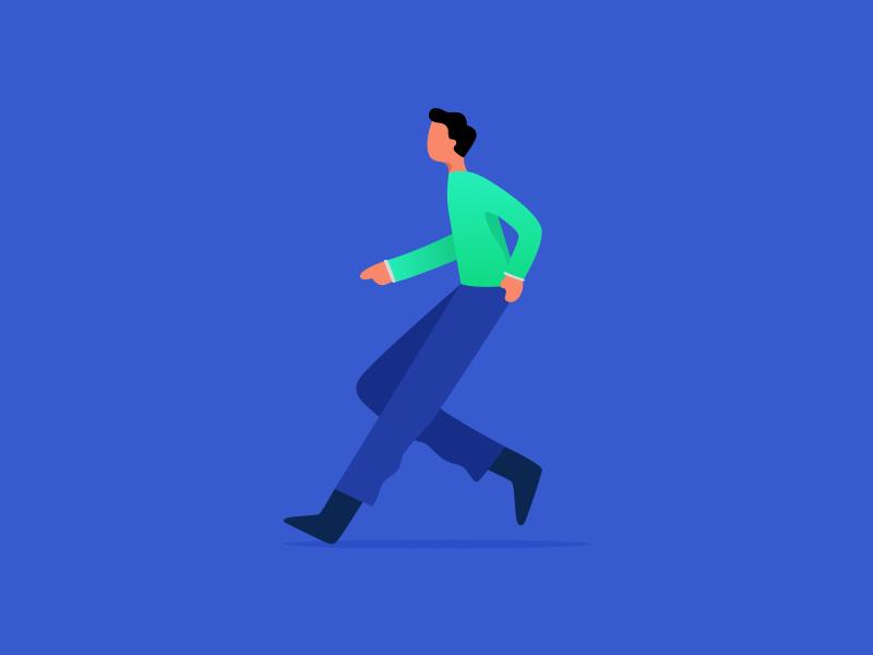 Run vector isometric charachter icon work web character ui flat design dribbble illustration
