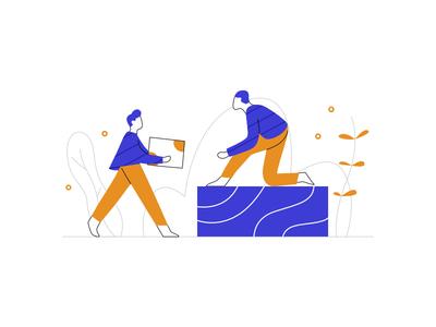 team work work ui web startup team teamwork character flat design dribbble illustration