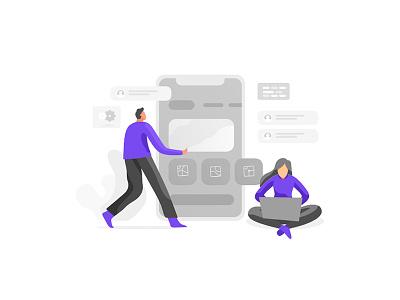 Mobile Development mobile ui development vector charachter icon work web character flat ui design dribbble illustration