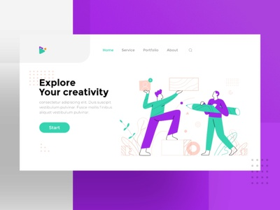 Creativity | illustration exploration landingpage exploration creativity icon charachter ui work web character flat design dribbble illustration