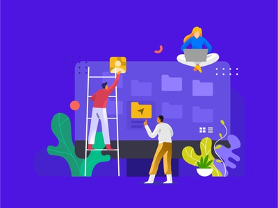 manage folder web work branding ux dribbble design ui flat character folder illustration