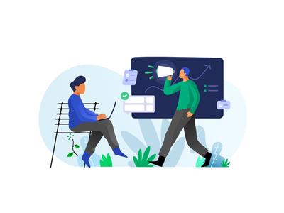 Marketing Strategy vector icon web character illustration dribbble flat ui design marketing strategy