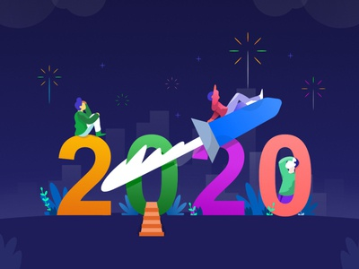 Welcome 2020 icon charachter work web character ui flat design illustration dribbble newyear 2020