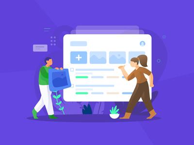 Task Management Illustration dashboard vector work web character ui design dribbble illustration flat list management task
