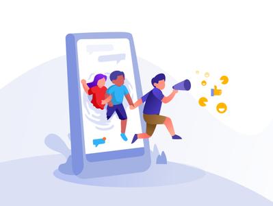 Social Marketing vector dribbble illustration bloggers ui flat marketing social