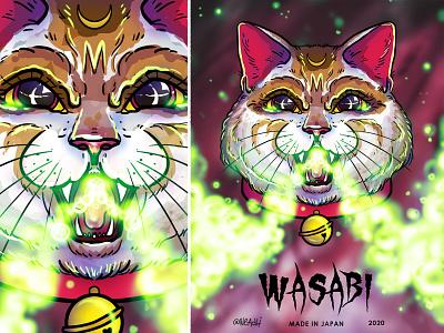Cat 招き猫 - Wasabi sauce animals illustration japan sauce cat