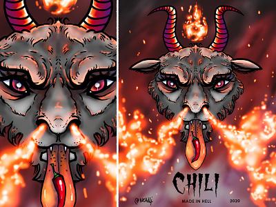 Satan chili label illustration animals satanic baphomet goat fire devil hell chili satan