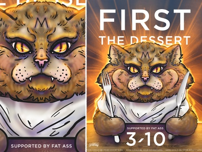 Bulky hangry Cat poster animals illustration fat dessert cat hangry